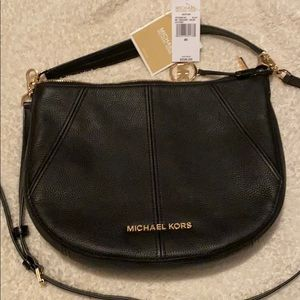 MK bucket bag, black leather